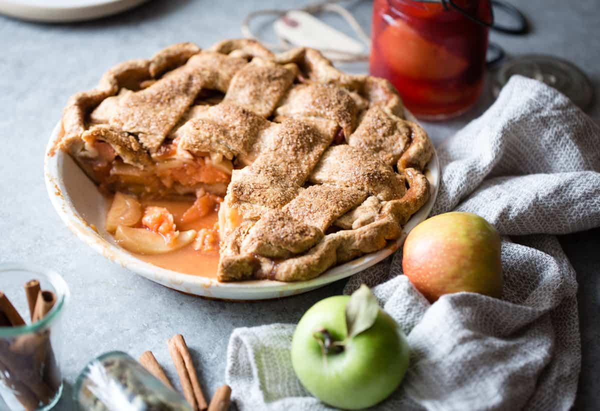 Apple Quince Lattice Pie {gluten-free} with slice taken out
