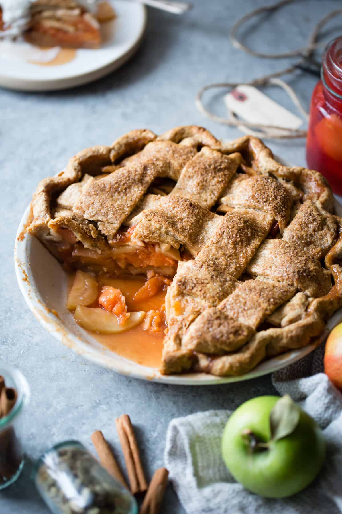 close up of Gluten Free Apple Pie with Spiced Poached Quince
