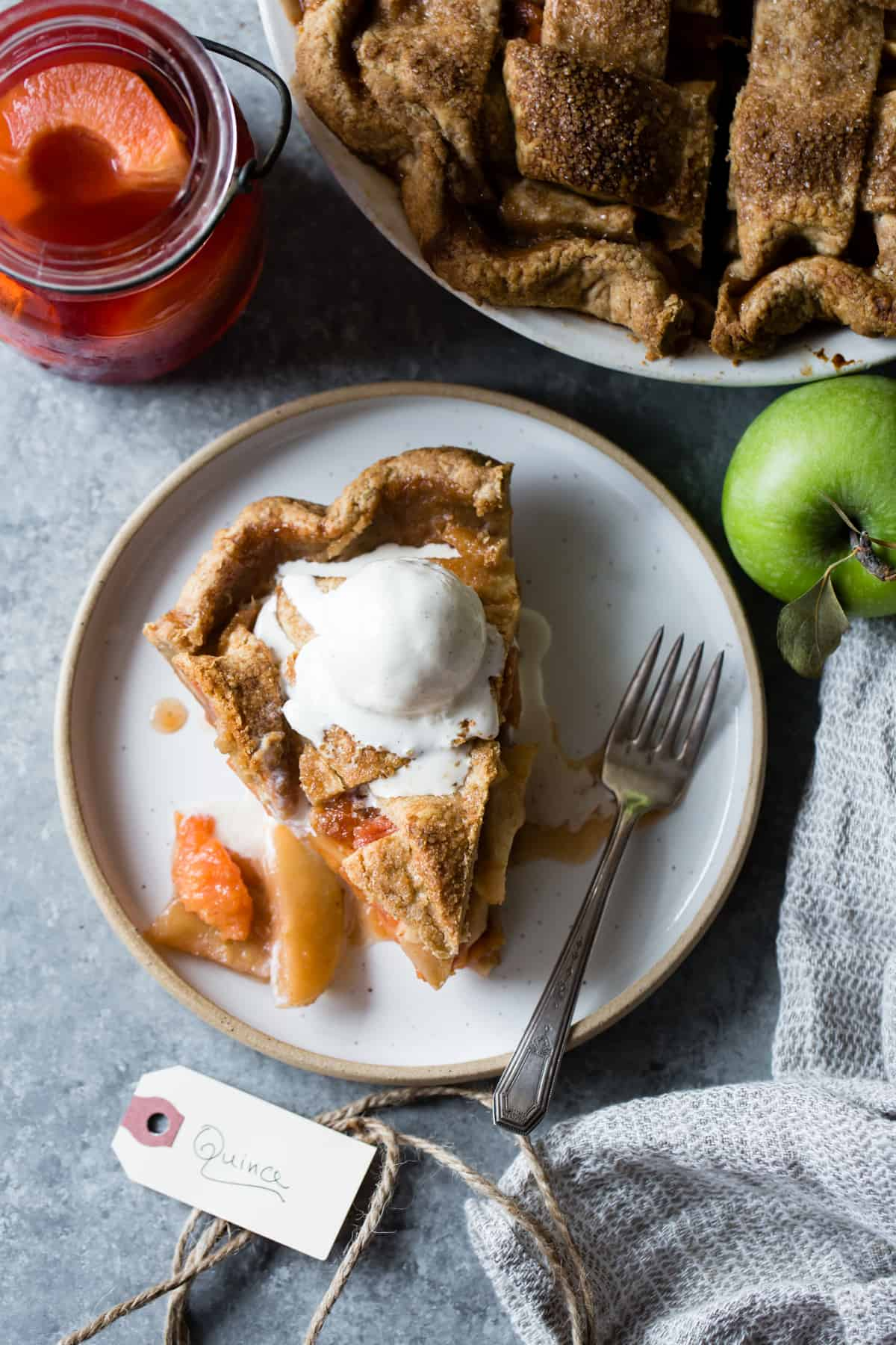slice of delicious Gluten Free Apple Pie with Spiced Poached Quince