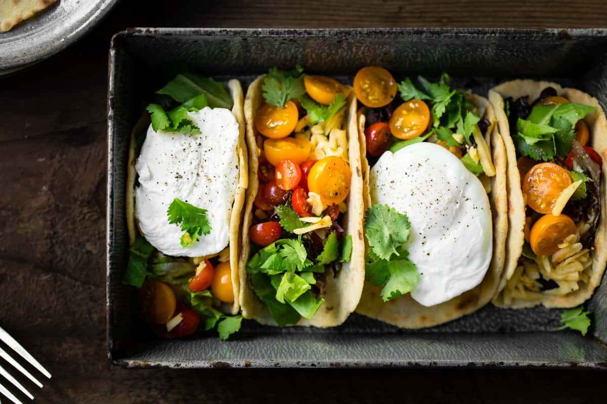 Gluten-Free Amaranth Tortillas + Vegetarian Breakfast Tacos in dish