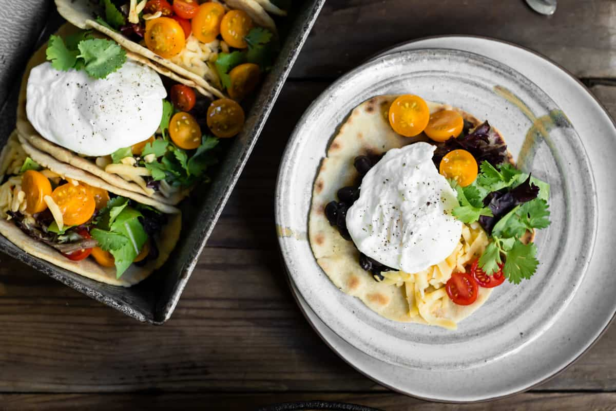 top down shot of Gluten-Free Amaranth Tortillas + Vegetarian Breakfast Tacos