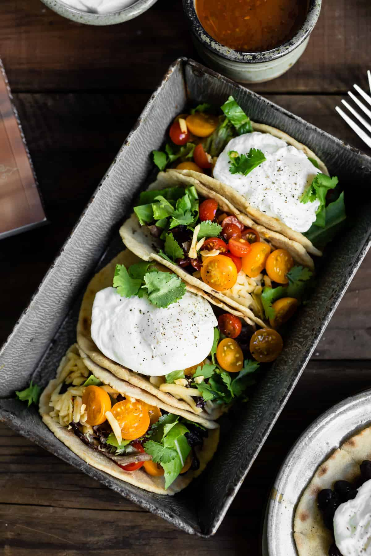 row of Gluten-Free Amaranth Tortillas + Vegetarian Breakfast Tacos