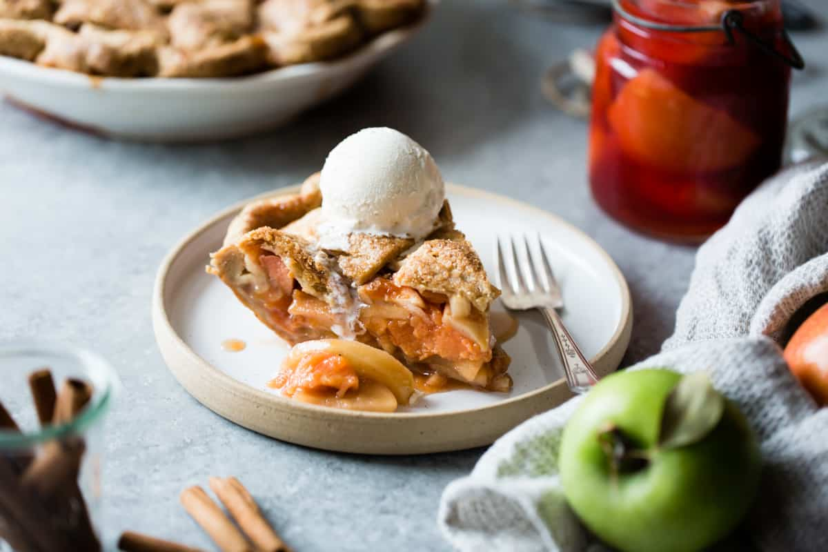 slice of Gluten Free Apple Pie with Spiced Poached Quince