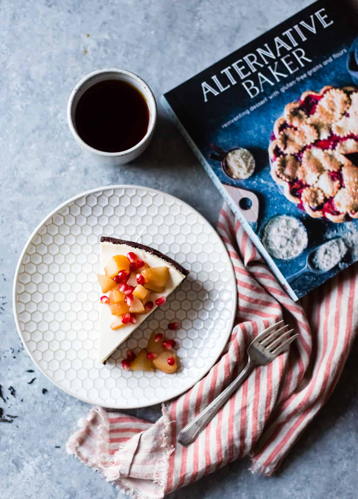 Chocolate Crusted Chèvre Cheesecake with Earl Grey Poached Pears & Pomegranate {gluten-free} and cook book