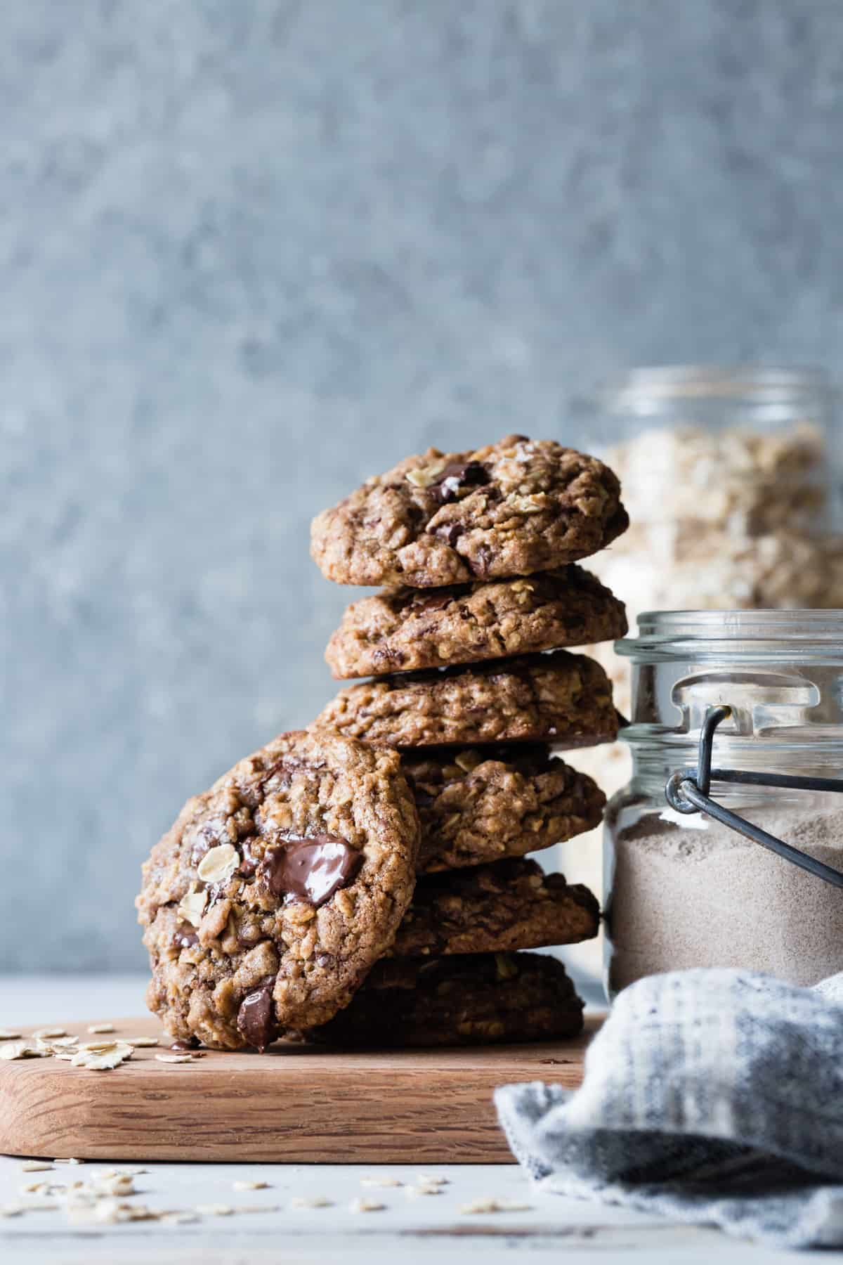 stack of Gluten-Free Oatmeal Teff Chocolate Chip Cookies