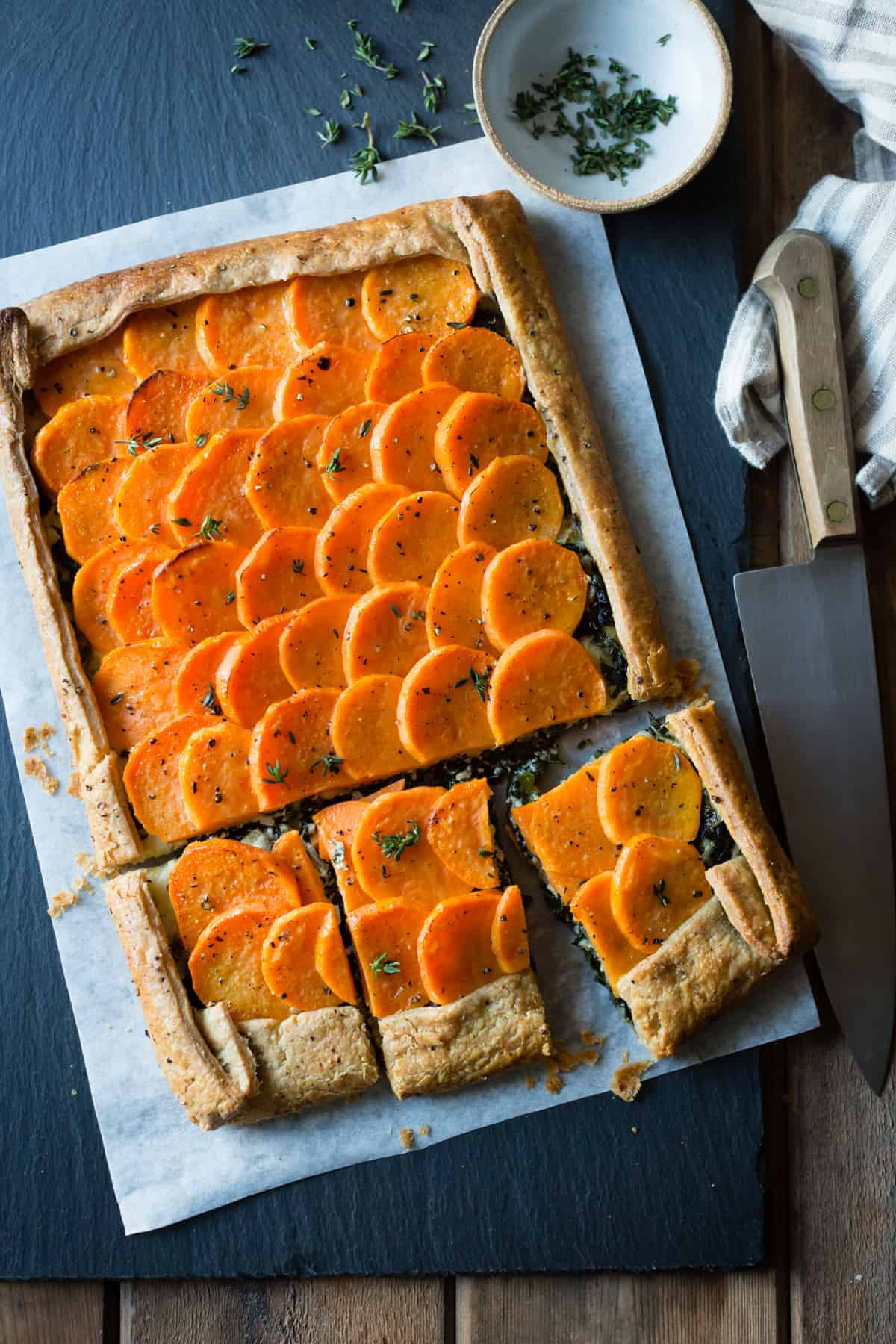 delicious Cheesy Sweet Potato Kale Galette {gluten-free, whole-grain}