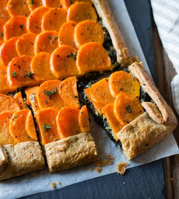 sliced Cheesy Sweet Potato Kale Galette {gluten-free, whole-grain}