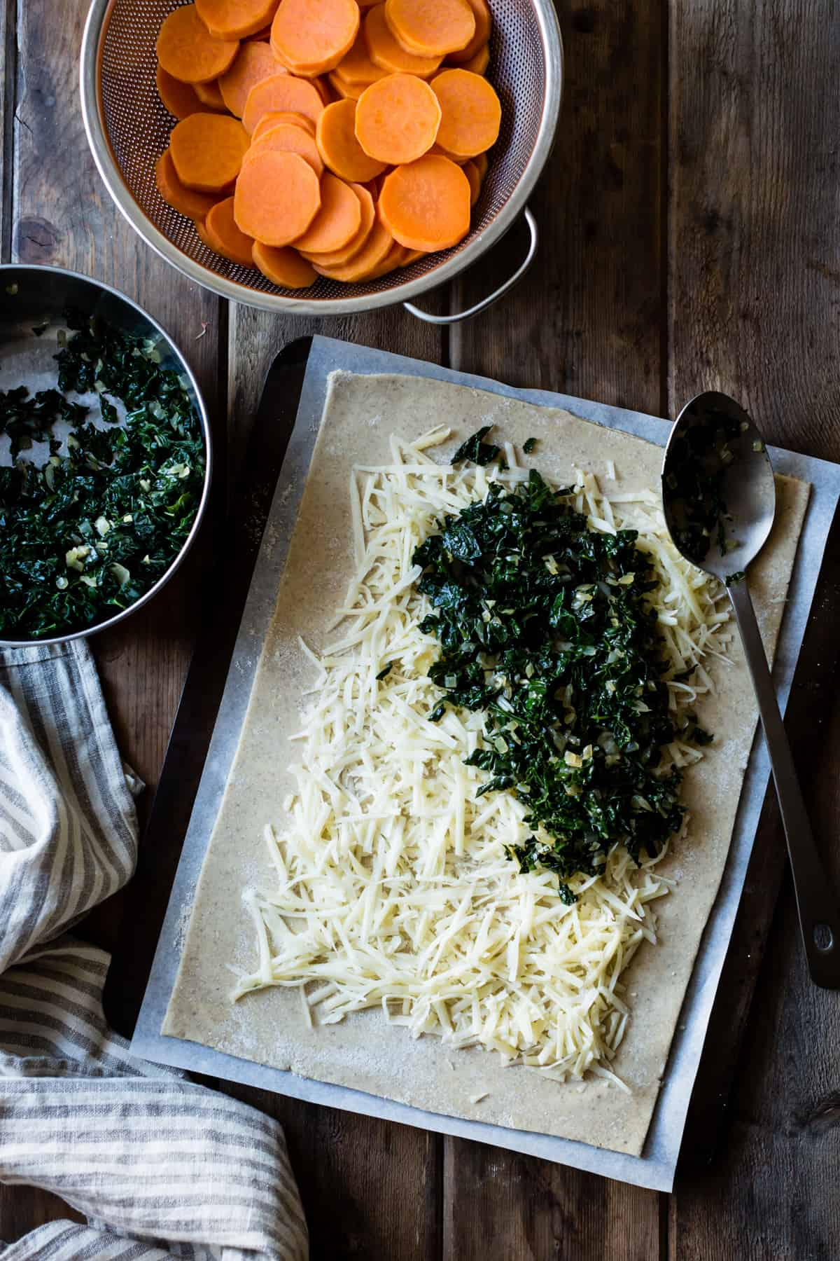 cheese and spinach filling on dough