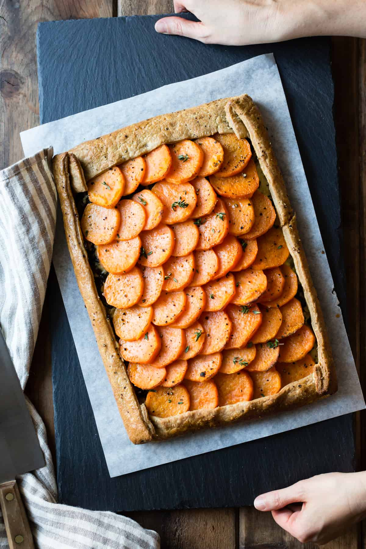 Cheesy Sweet Potato Kale Galette {gluten-free, whole-grain} on slate