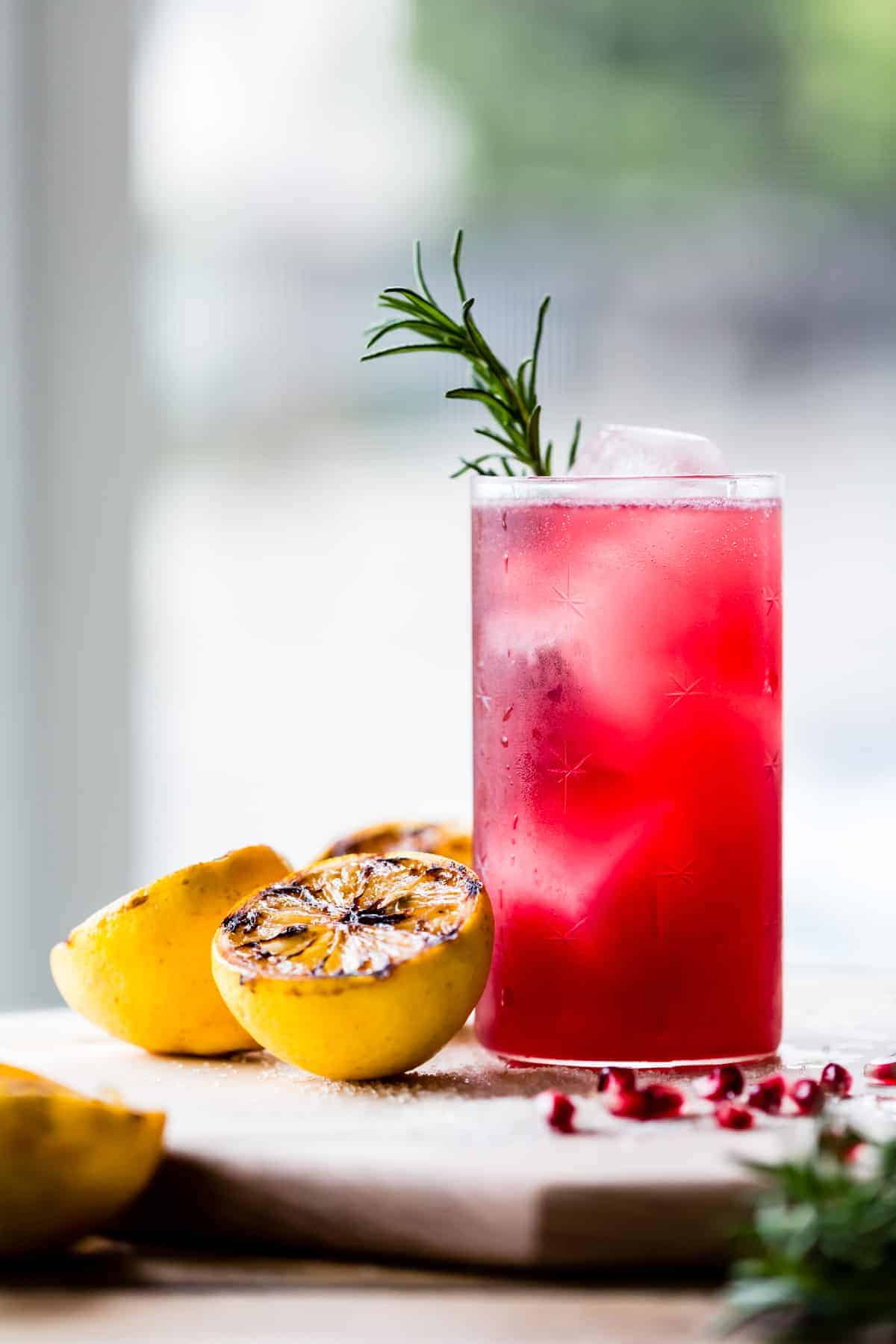 Rosemary, Pomegranate, & Grilled Meyer Lemon Vodka Sparklers
