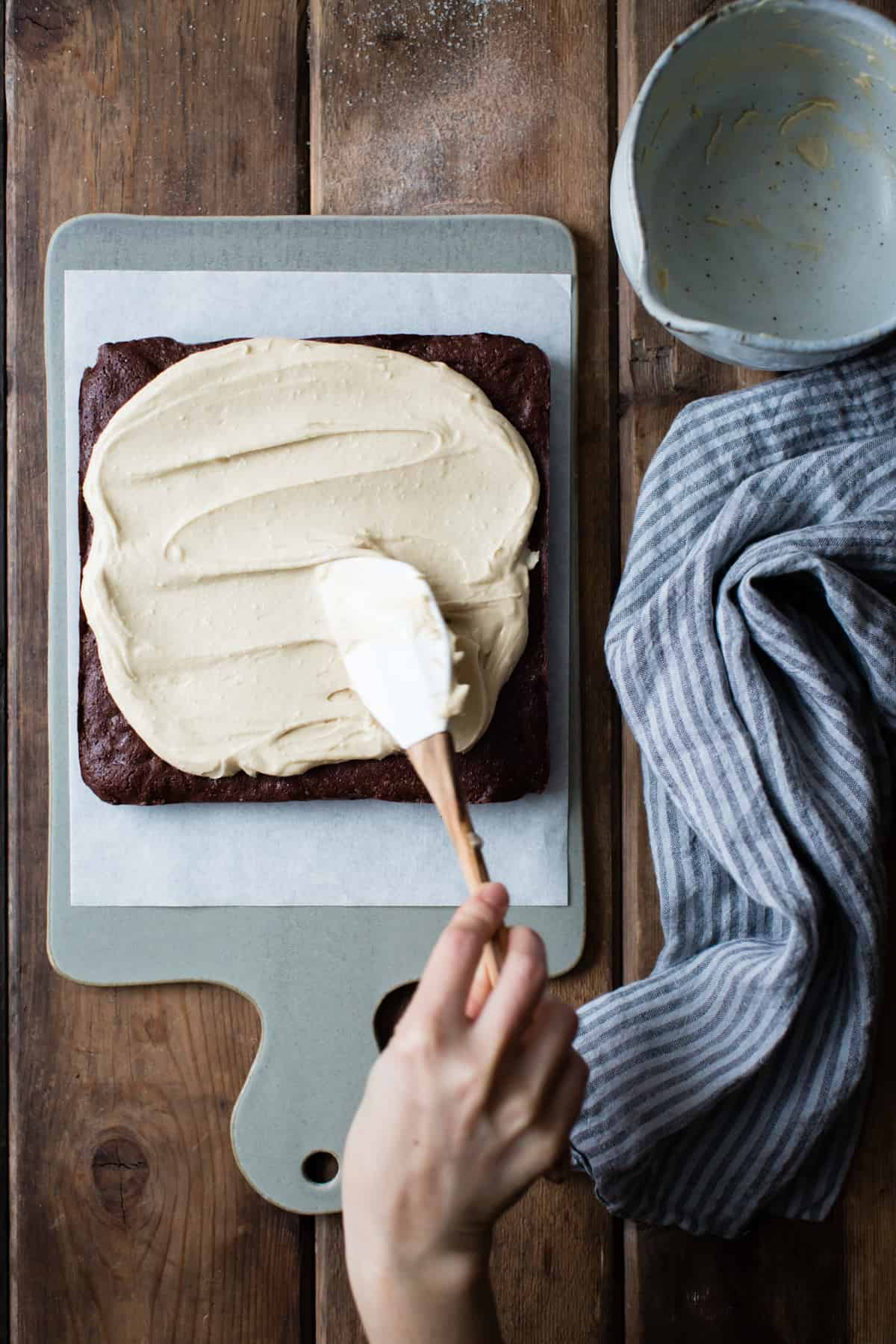 Teff Brownies with Salted Tahini Frosting {gluten-free}