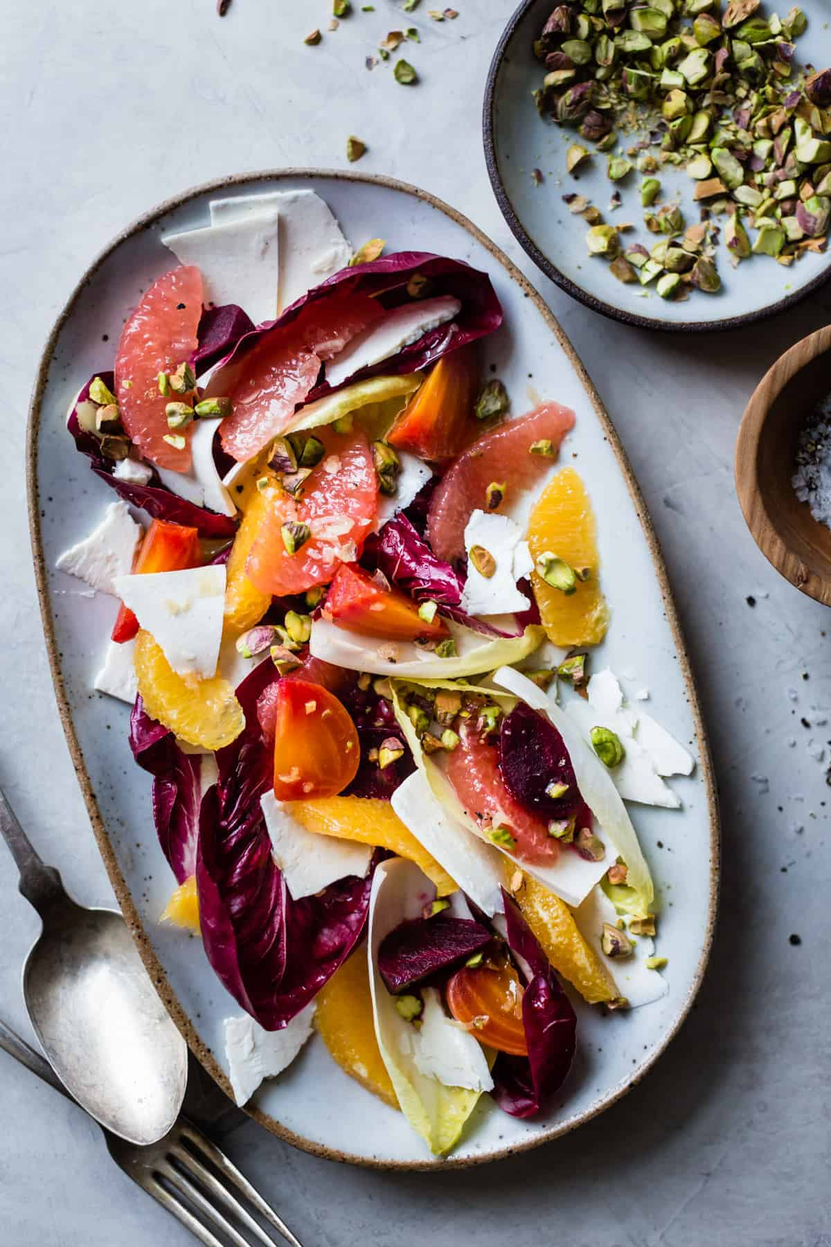 fresh and delicious Beet, Citrus, & Chicory Salad with Ricotta Salata and Pistachios