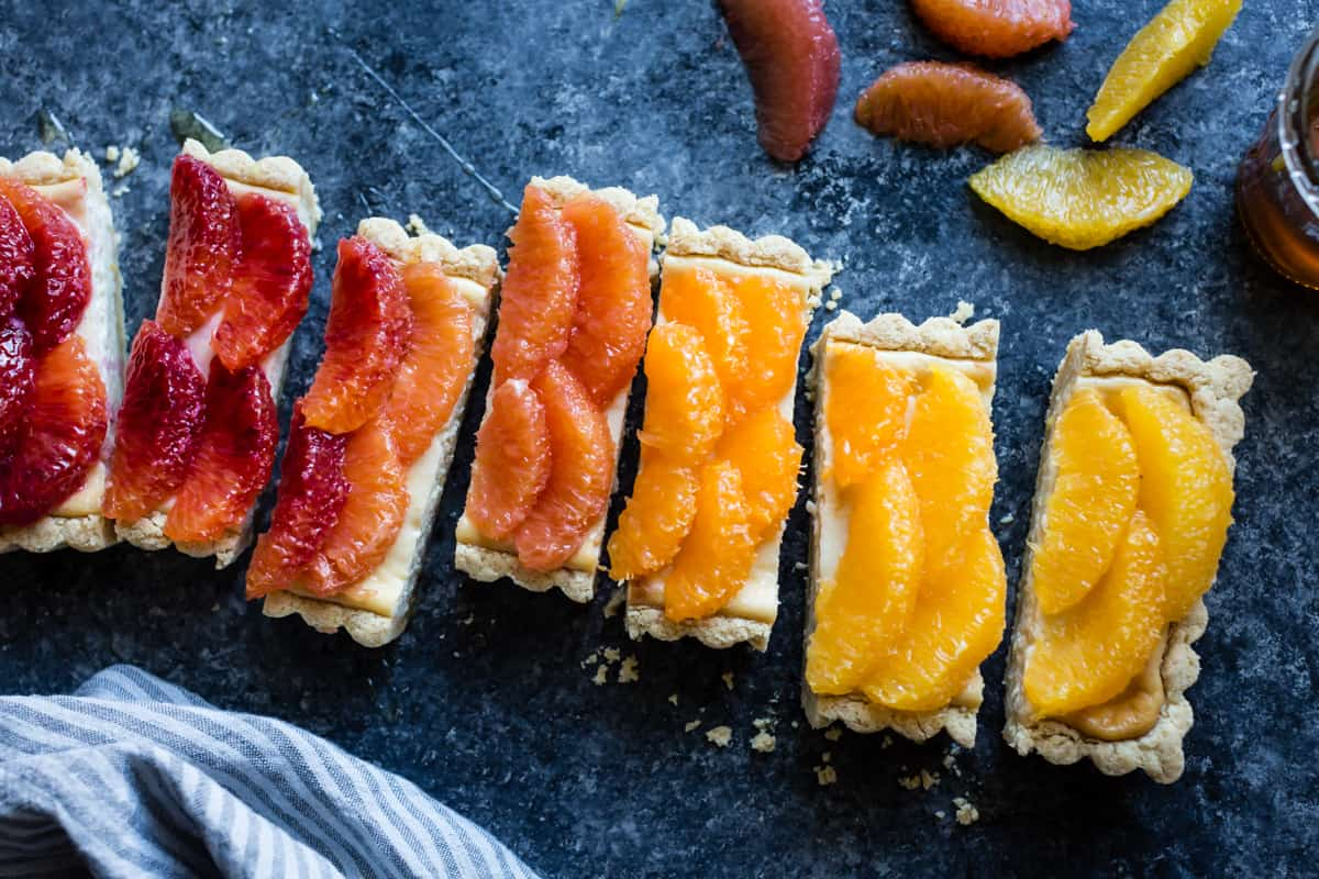 slices of delicious Gluten-Free Citrus Ricotta Tart with Almond Corn Flour Crust