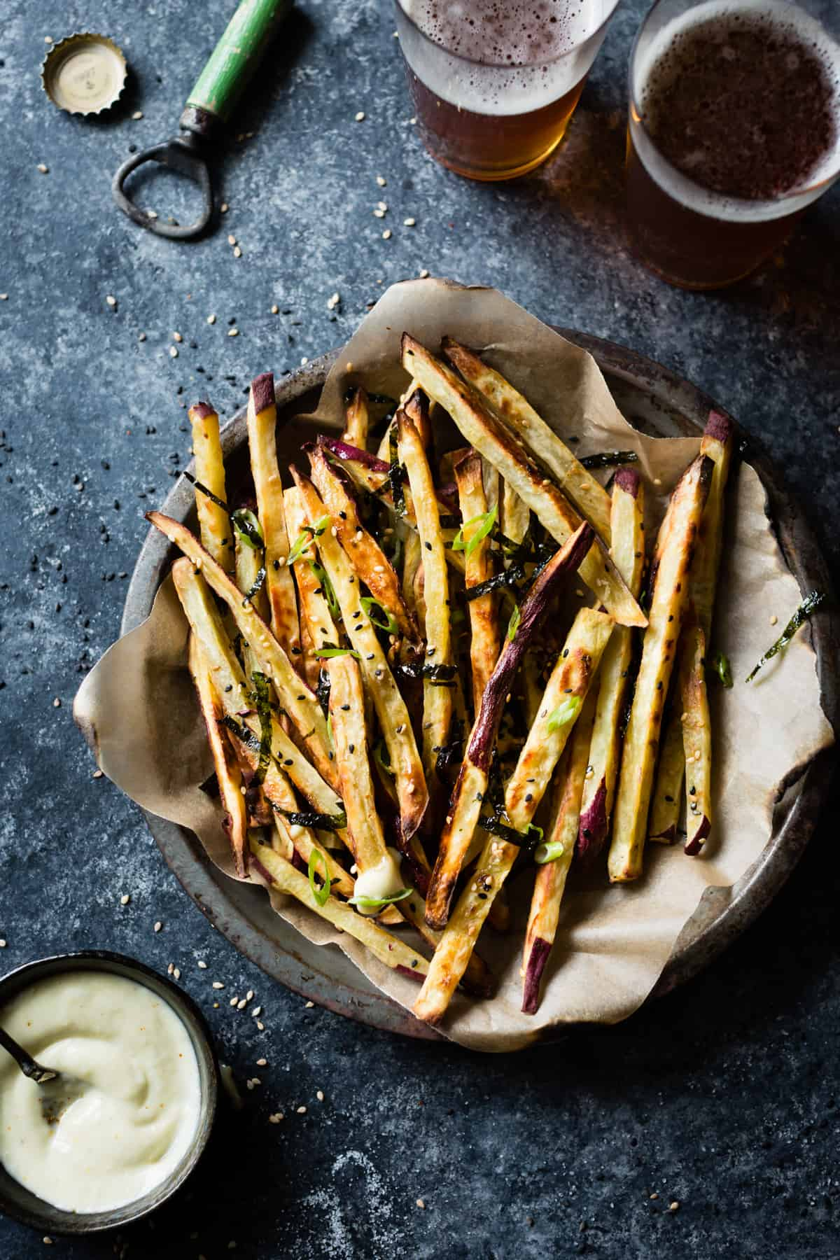 top down shot of Japanese Sweet Potato Oven Fries with Wasabi Aioli