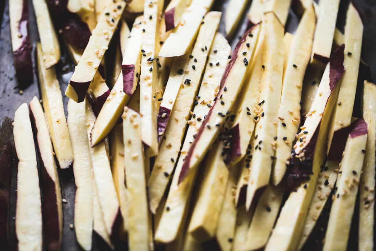 Japanese Sweet Potato Oven Fries with Wasabi Aioli beofre baking