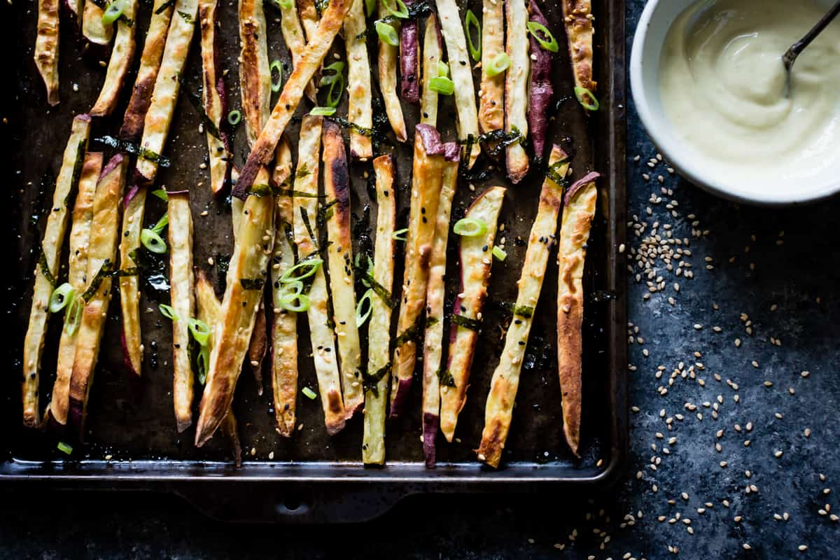tray of delicious Japanese Sweet Potato Oven Fries with Wasabi Aioli