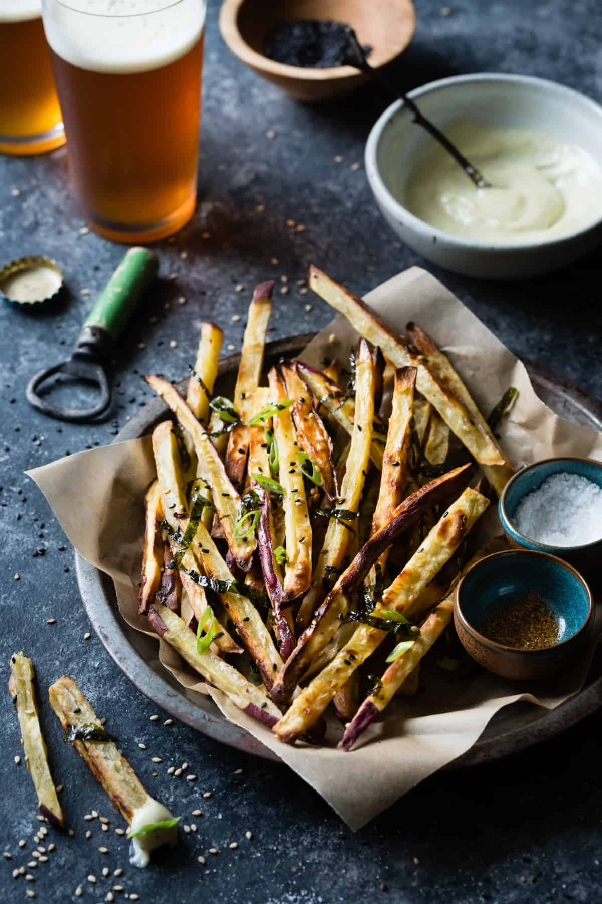 Japanese Sweet Potato Oven Fries with Wasabi Aioli in bowl