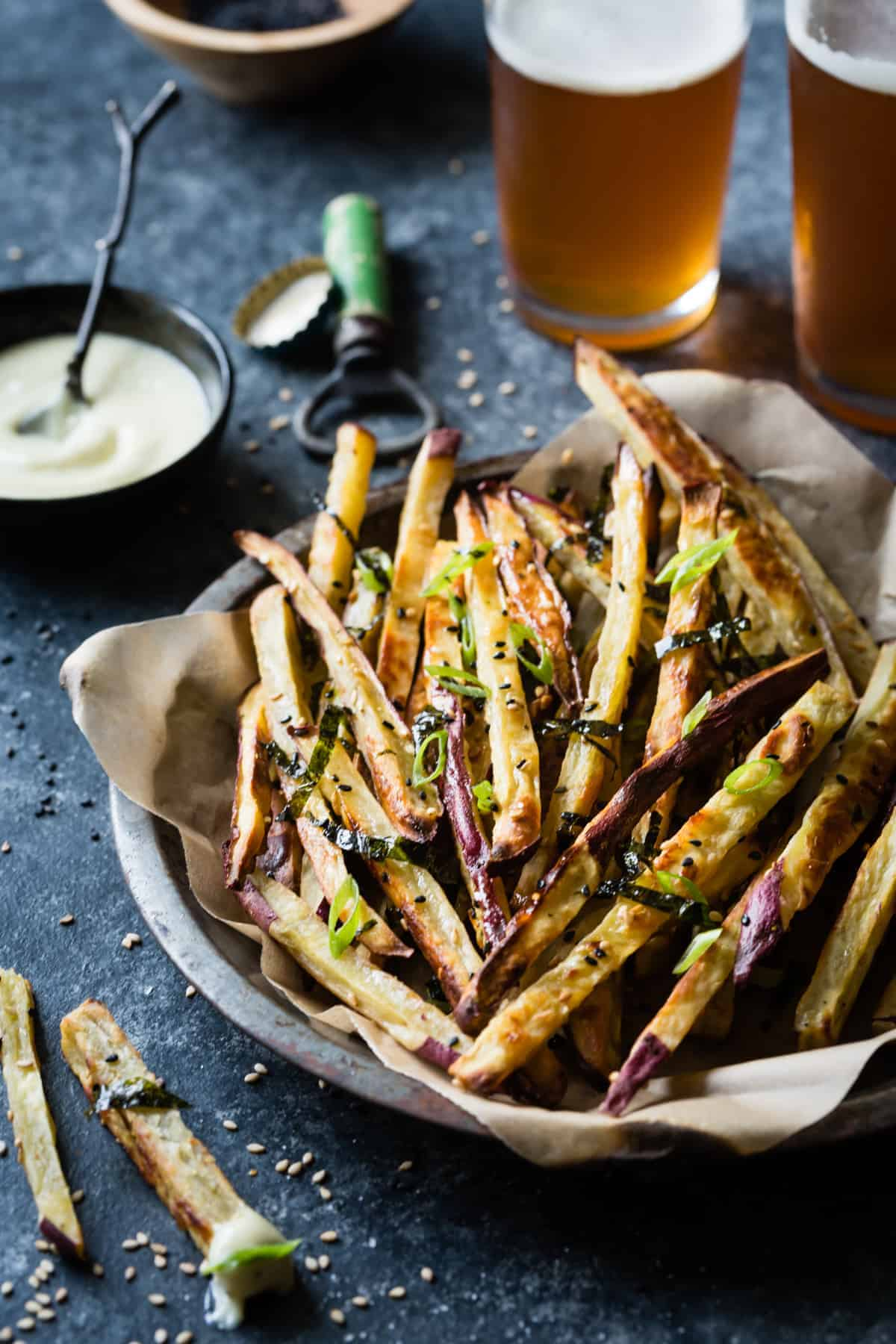 a pile of Japanese Sweet Potato Oven Fries with Wasabi Aioli