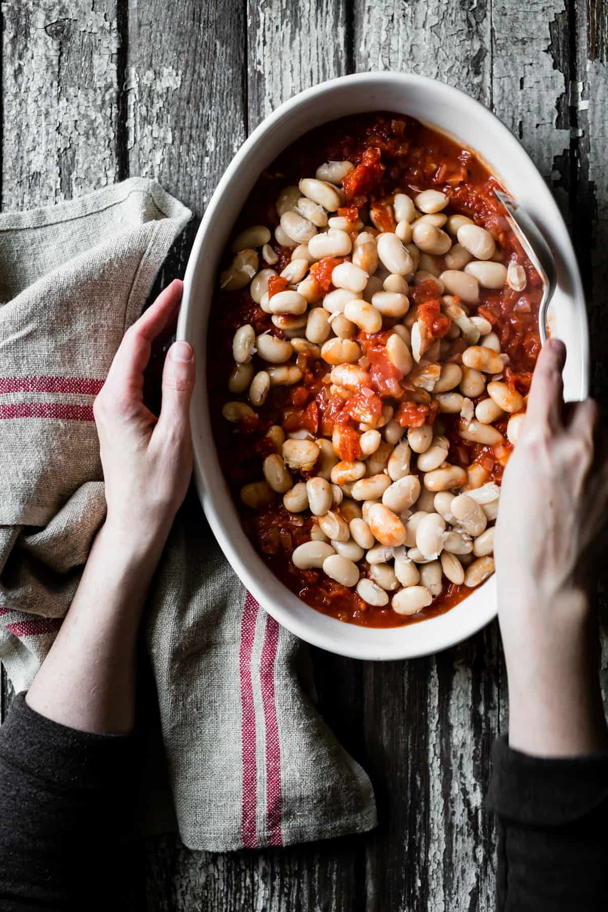 Tomato Baked White Beans with Feta and Lemon Parsley Oil