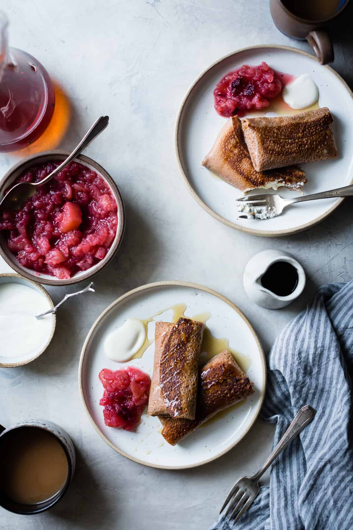 Chestnut Cheese Blintzes with Cranberry Applesauce {gluten-free}