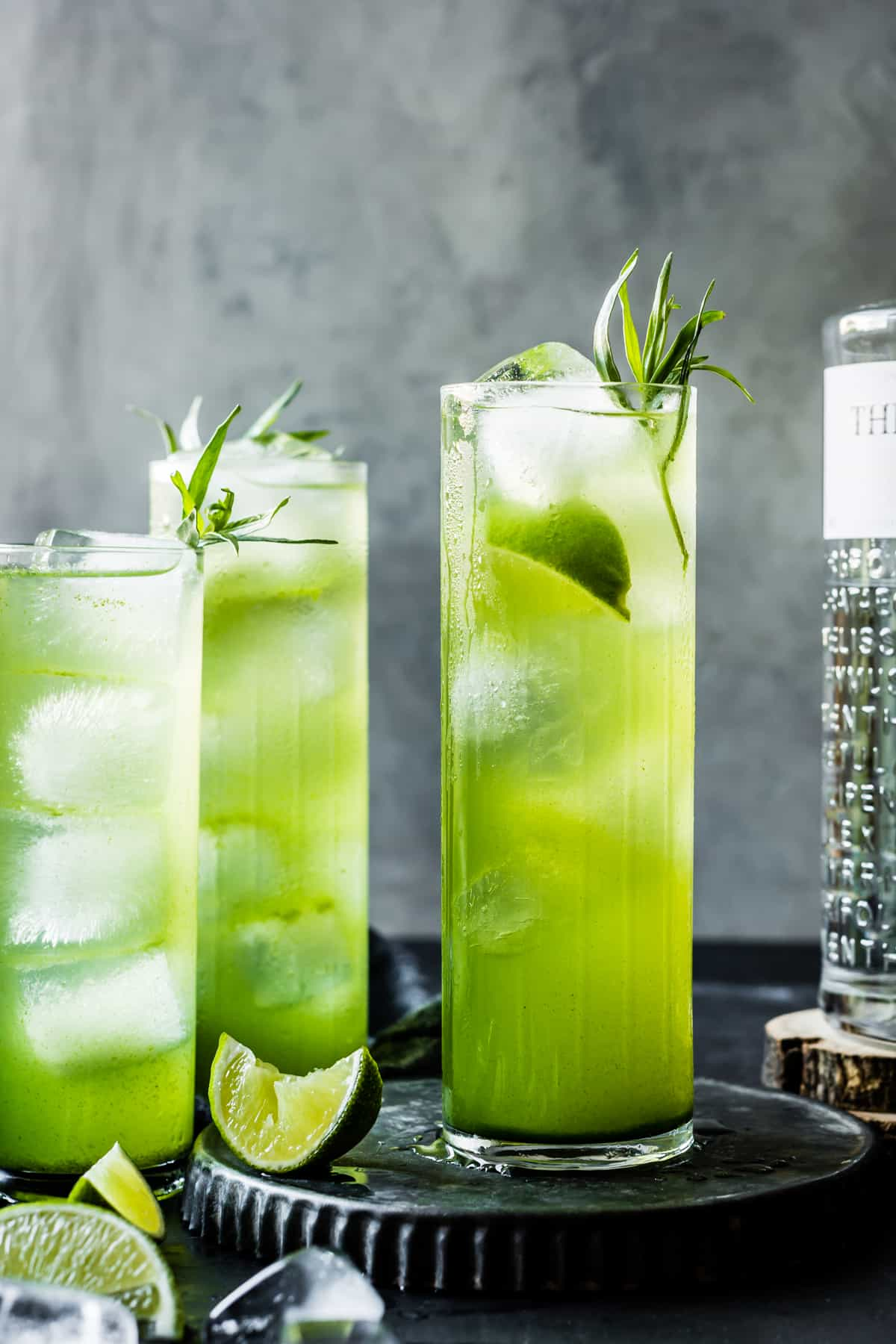 tall glasses of Tarragon Gin and Tonics
