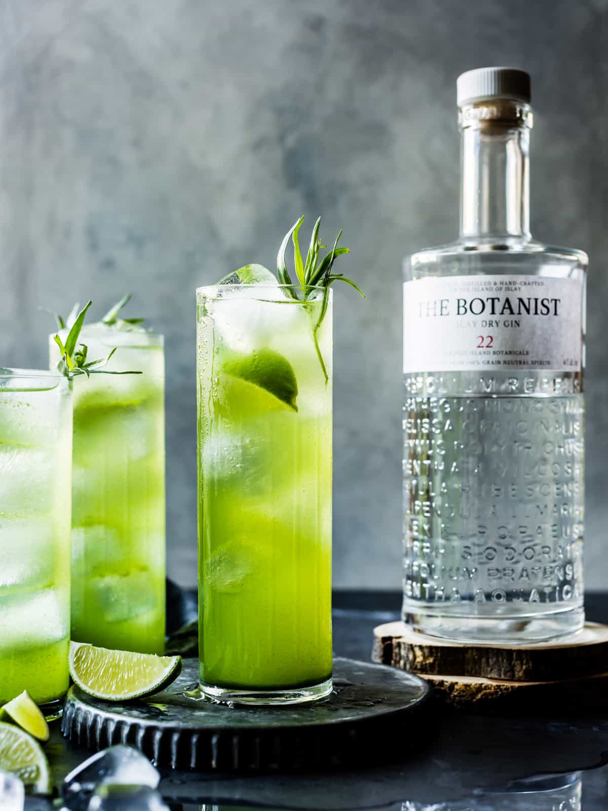 Tarragon Gin and Tonics with bottle of gin