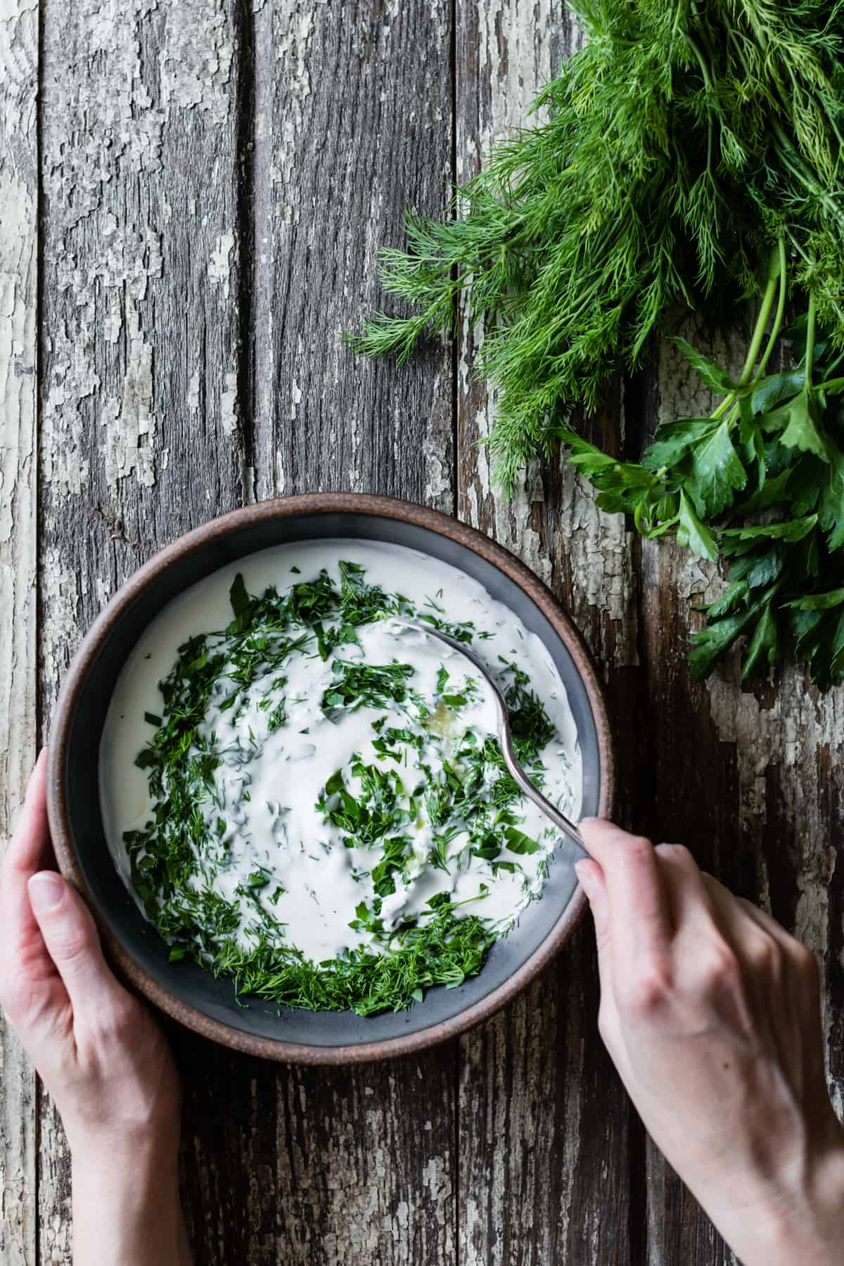 mixing Yogurt & Dill
