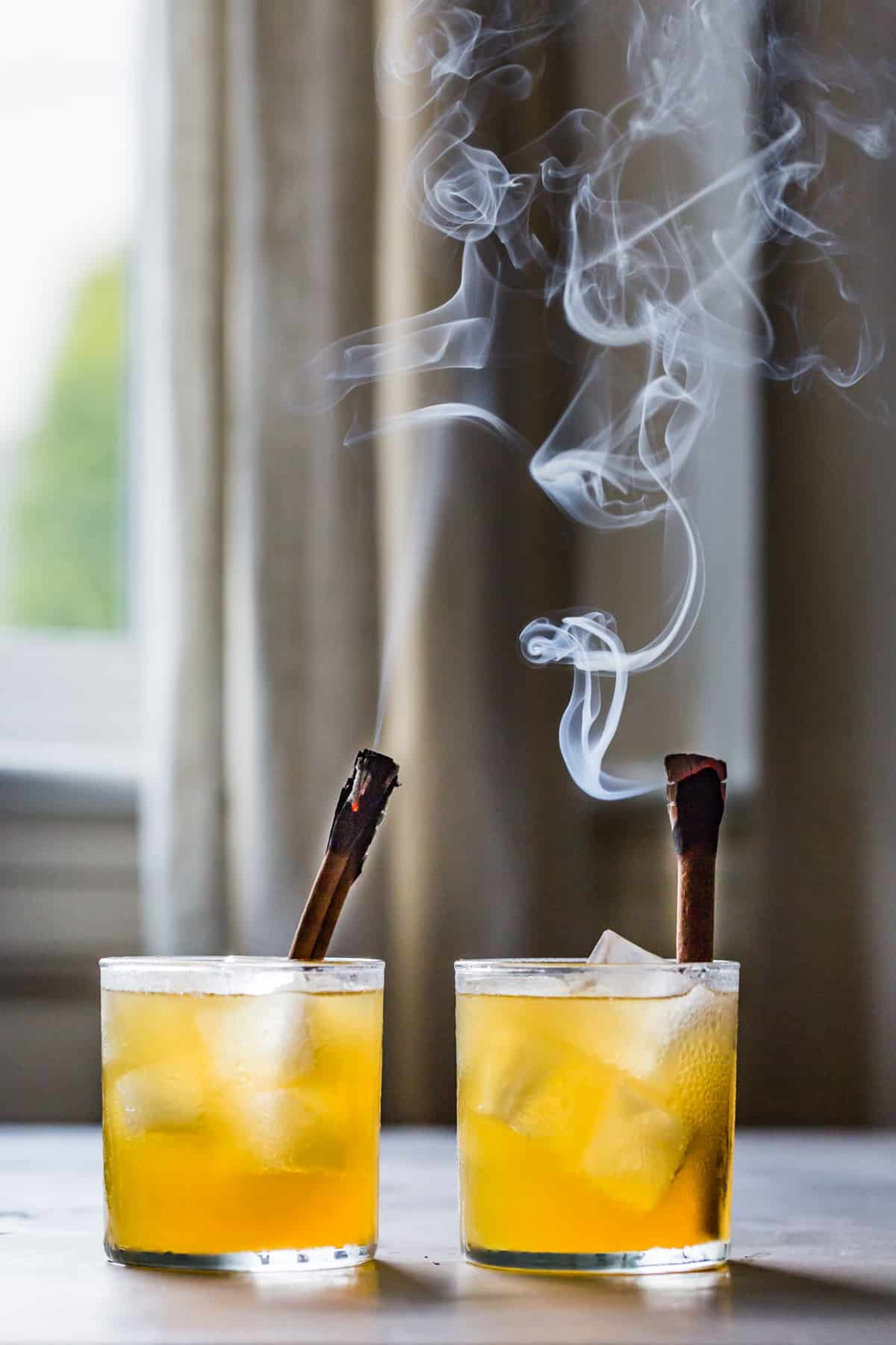two Yellow Chartreuse Cocktails with Bourbon & Ginger