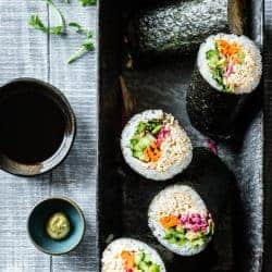 Rainbow Spicy Tofu Sushi Burritos {vegan}