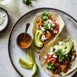 Smoky Lentil Tacos {vegan option}