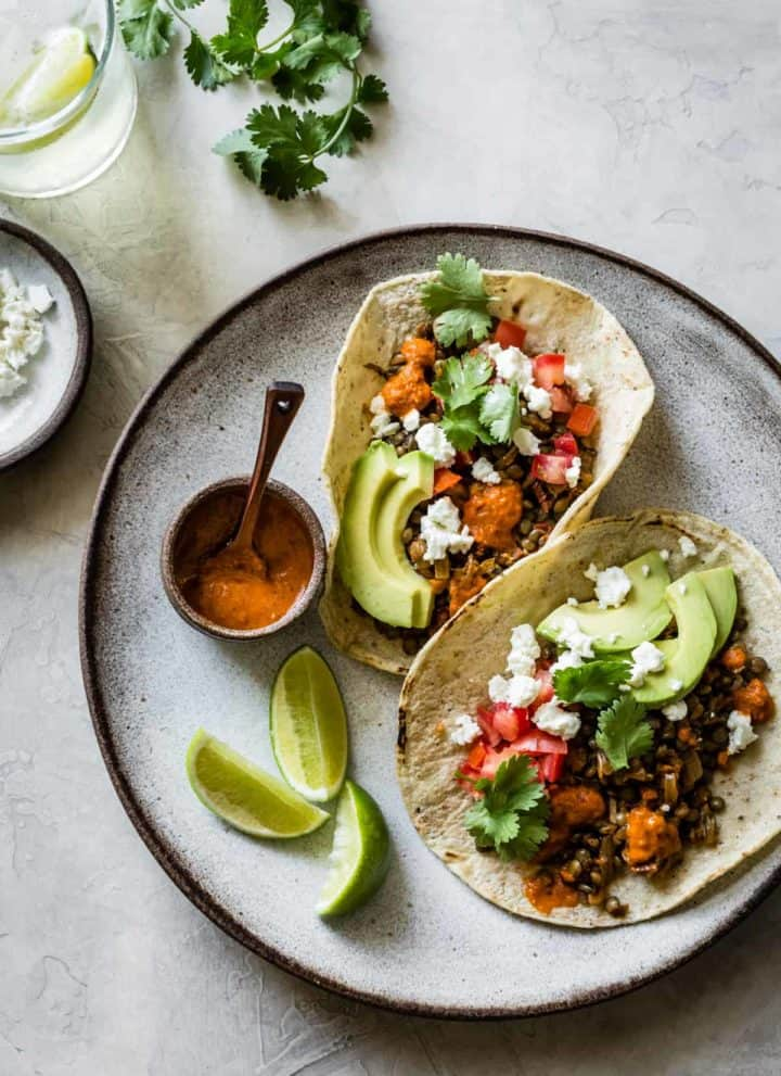 Smoky Lentil Tacos {vegan option}