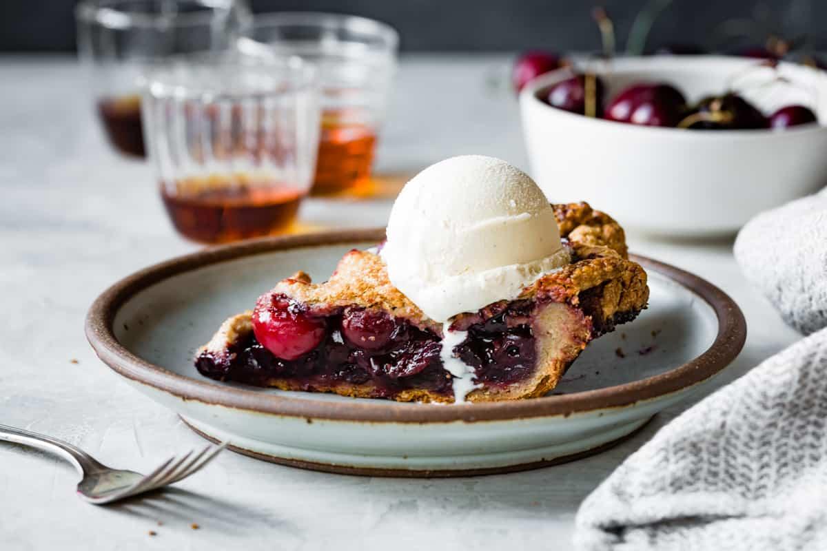 Spiced Bourbon Cherry Pie {gluten-free} with ice cream