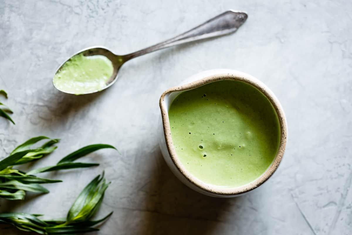 creamy cashew green goddess dressing in pot