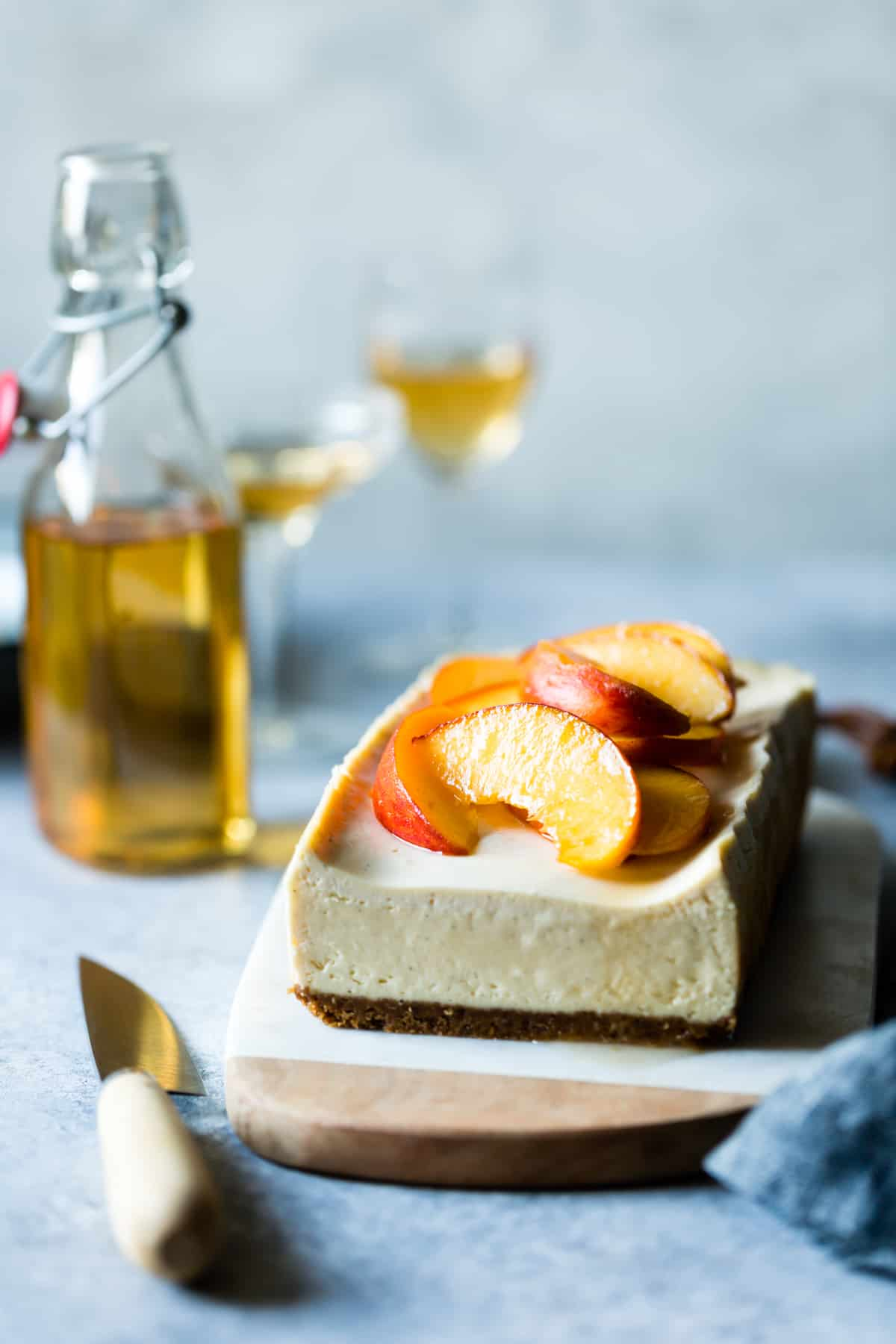 side shot of Small Batch Cheesecake with Elderflower Peaches
