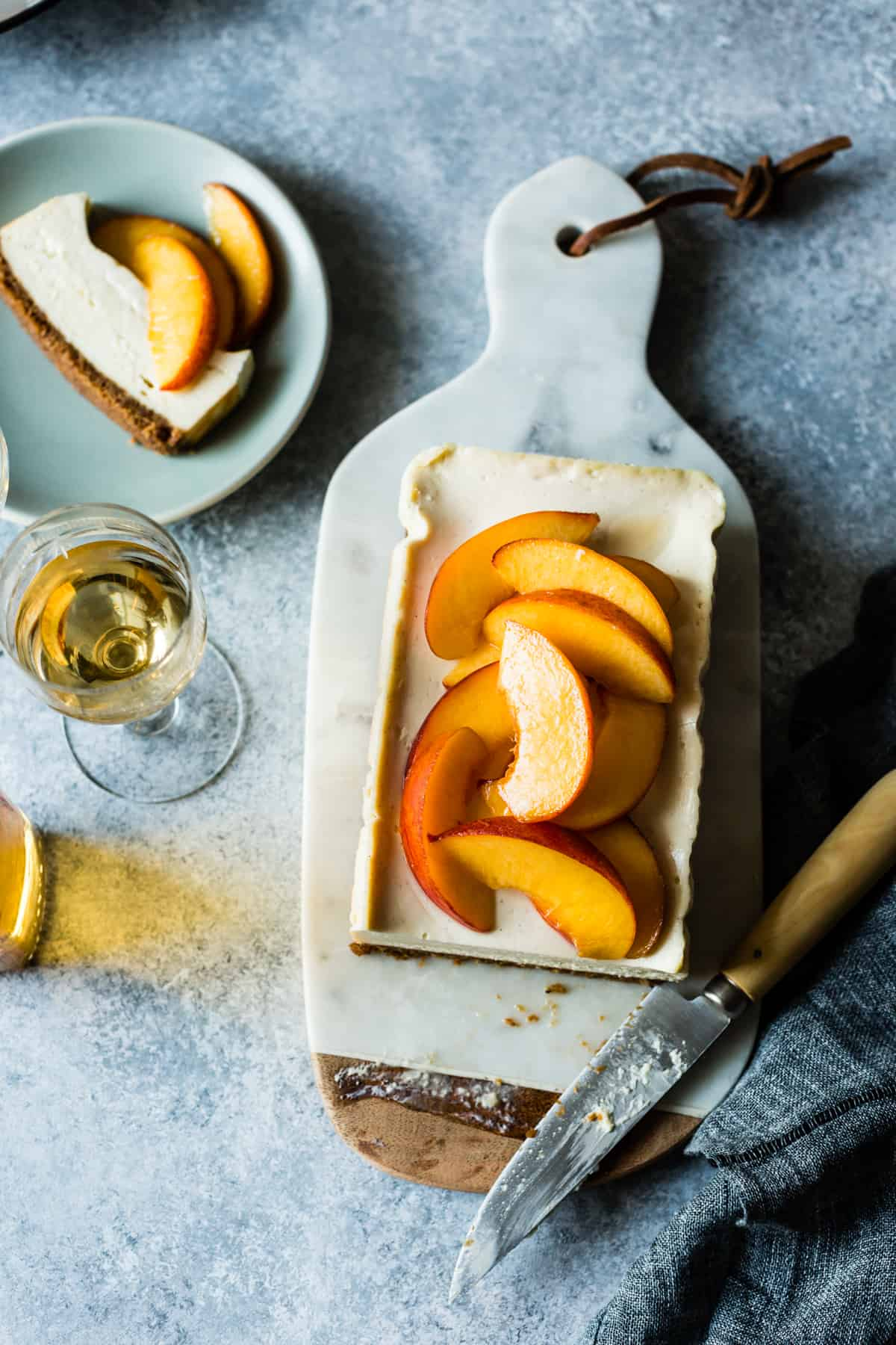 Small Batch Cheesecake with Elderflower Peaches on board