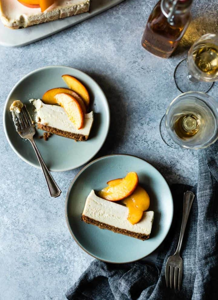 Small Batch Cheesecake with Elderflower Peaches