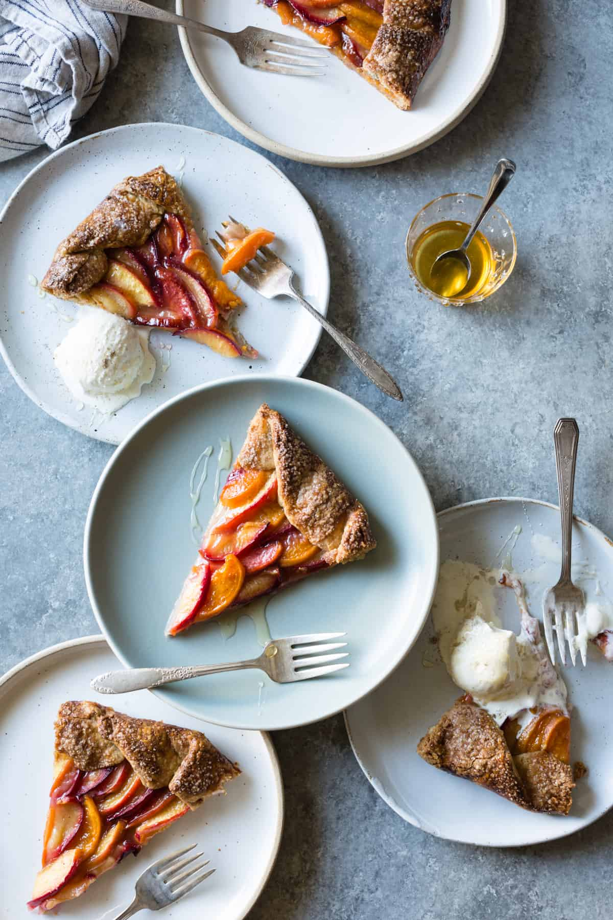 plates of Honey Cardamom Stone Fruit Galette {gluten-free}