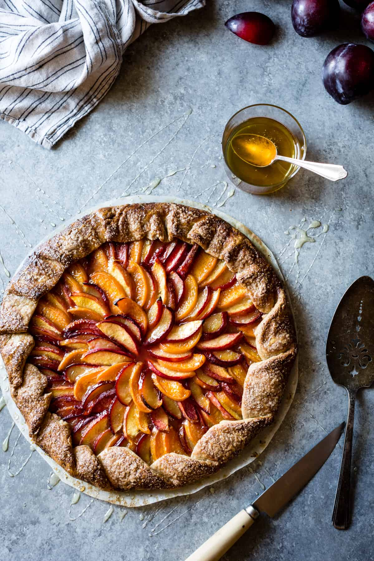 Honey Cardamom Stone Fruit Galette {gluten-free} on table
