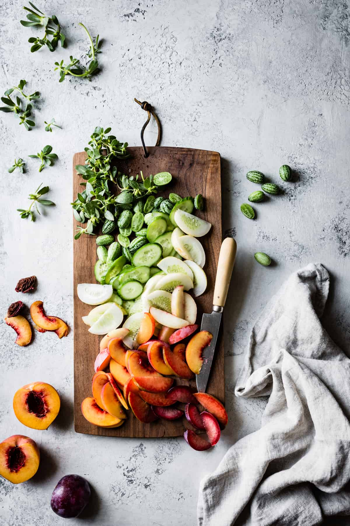 chopped fruit and vegetables