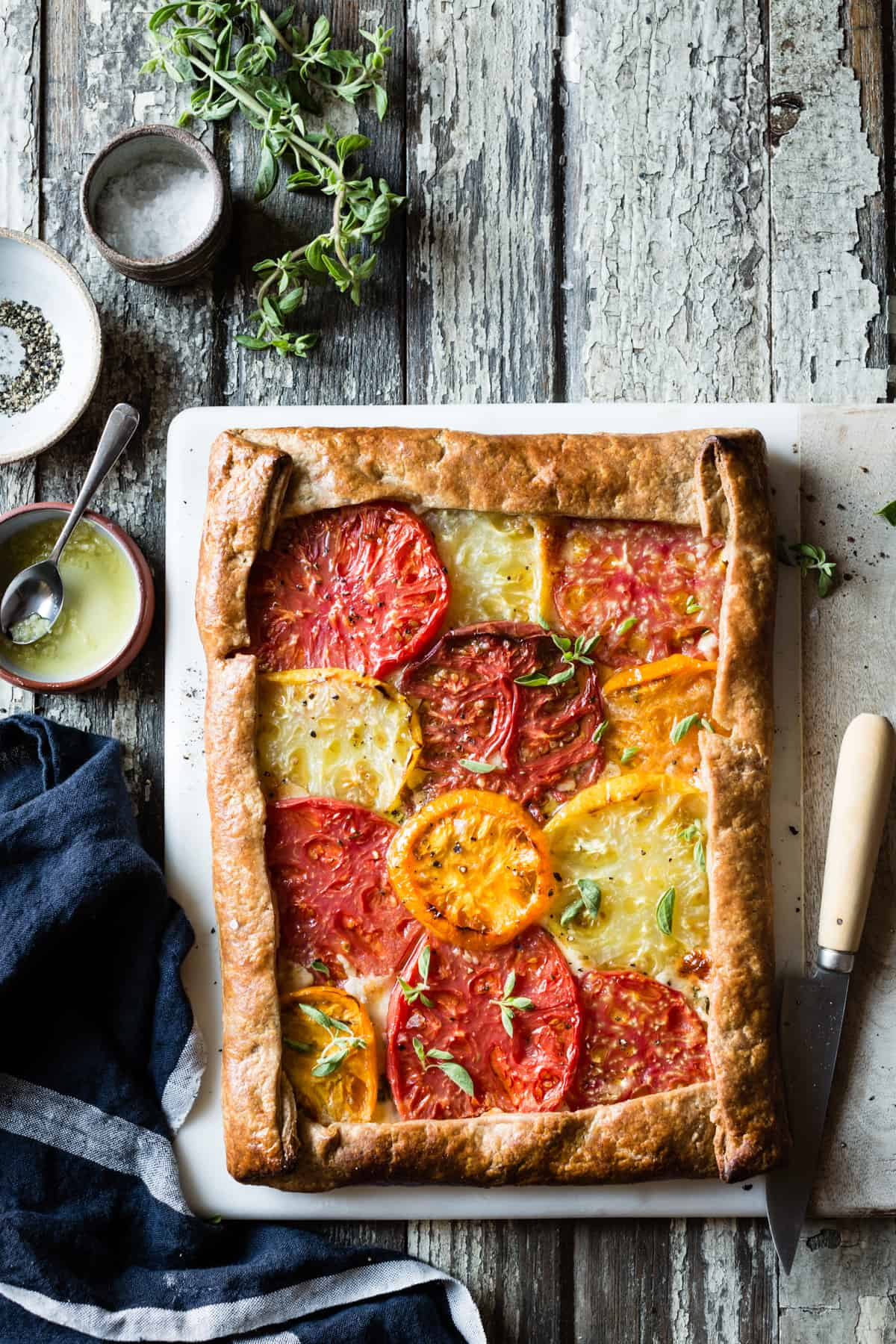 Rustic Heirloom Tomato Tart {gluten-free} on table
