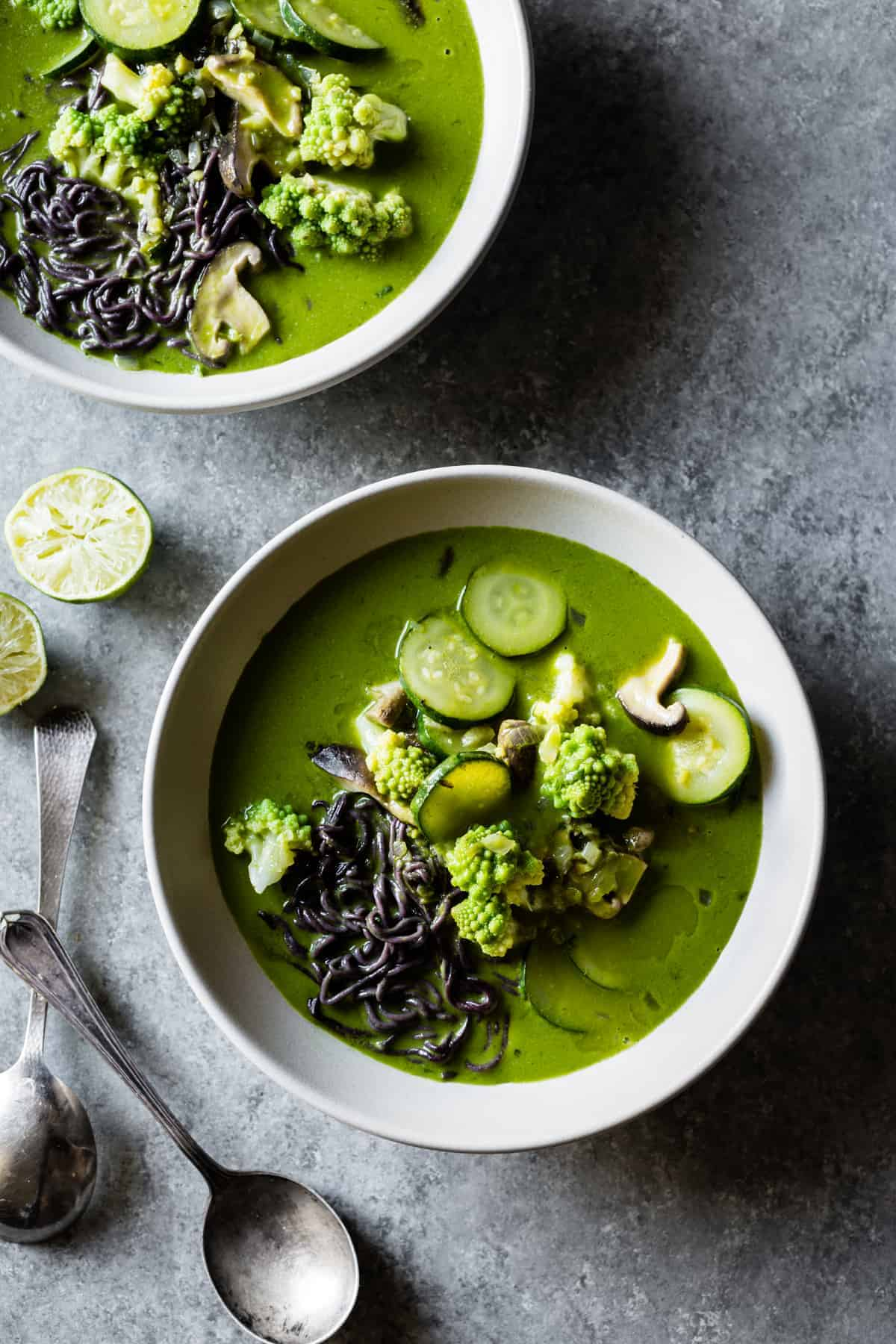 Green Noodle Soup with Coconut Lemongrass Broth