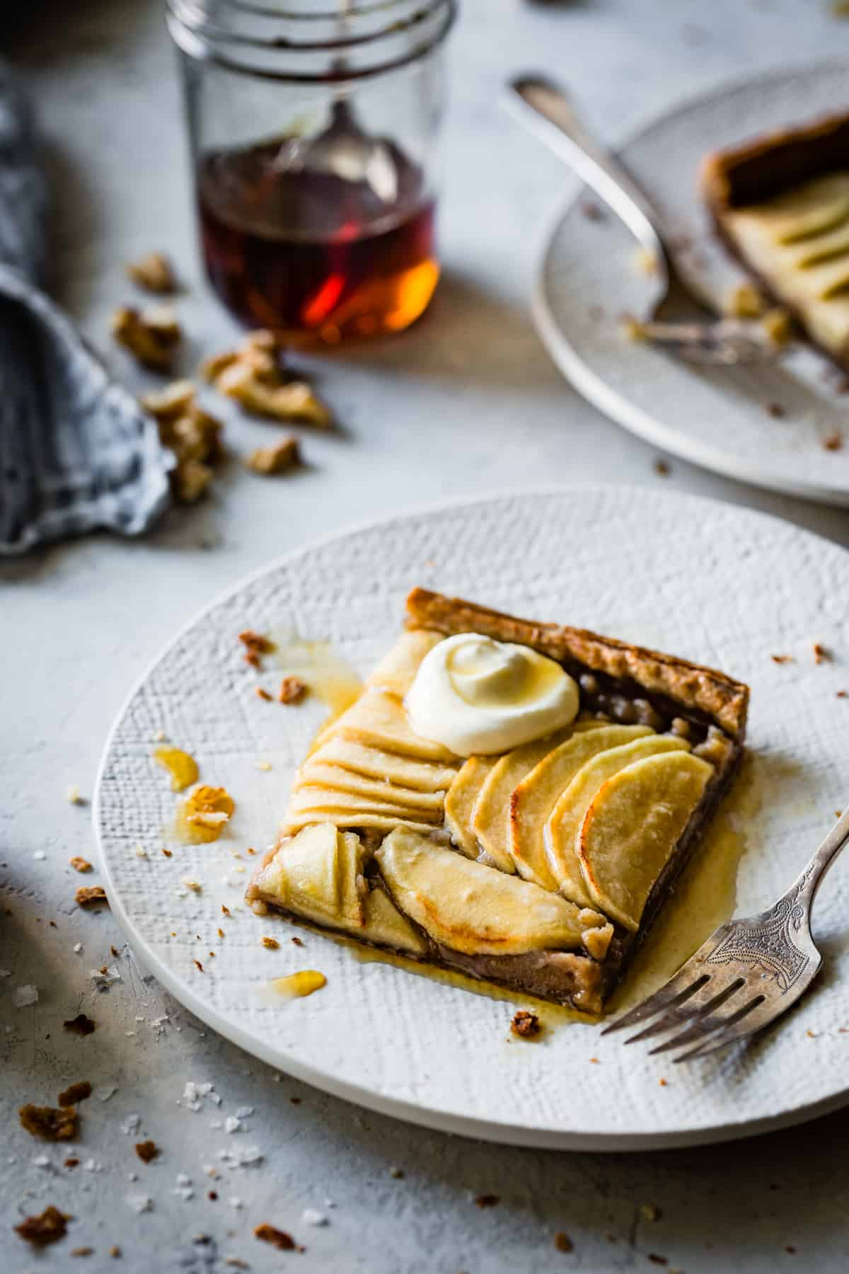 slice of Buckwheat Apple Galette with Maple Walnut Frangipane {gluten-free, refined sugar-free}