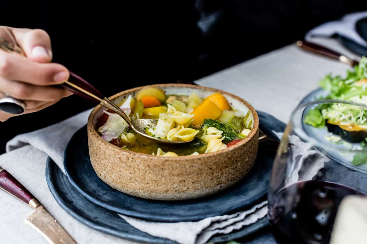 Golden Vegetable Chickpea Minestrone with Lemon Parsley Oil