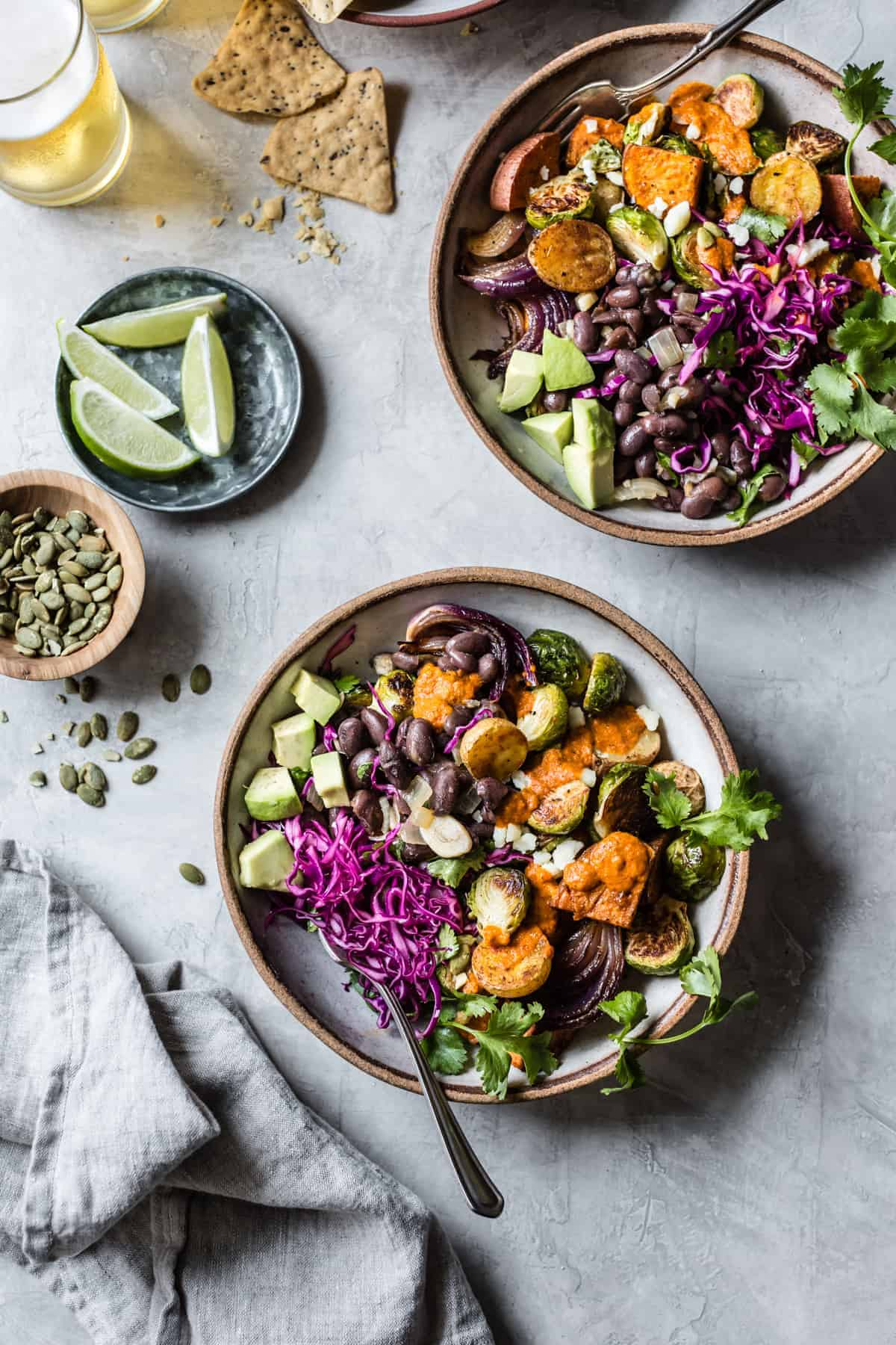 bright and delicious Mexican Roasted Veggie Bowls with Beer Beans