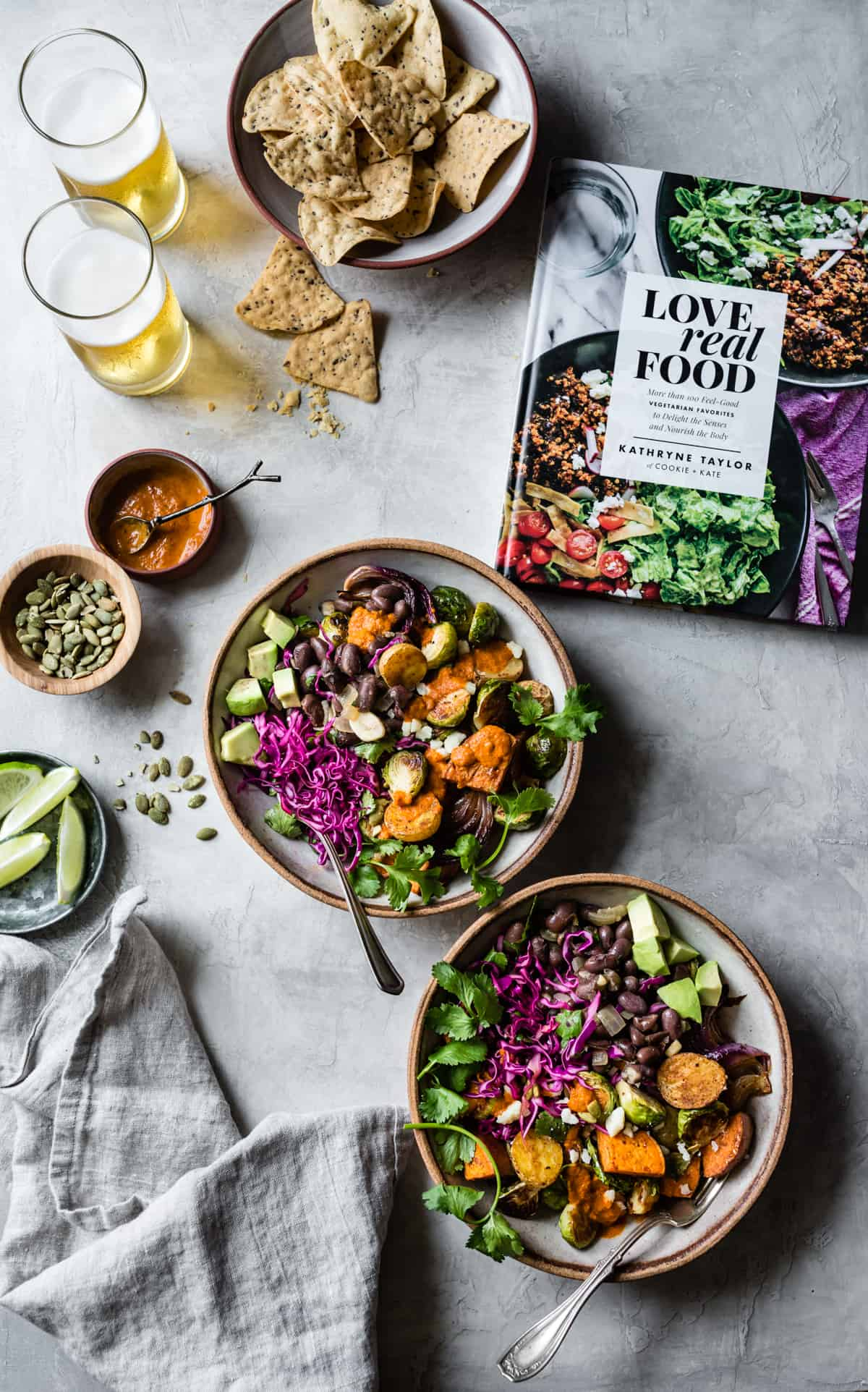Mexican Roasted Veggie Bowls with Beer Beans and cookbook