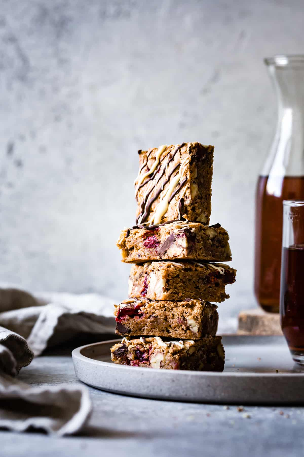stack of Chestnut Cranberry Blondies {gluten-free}