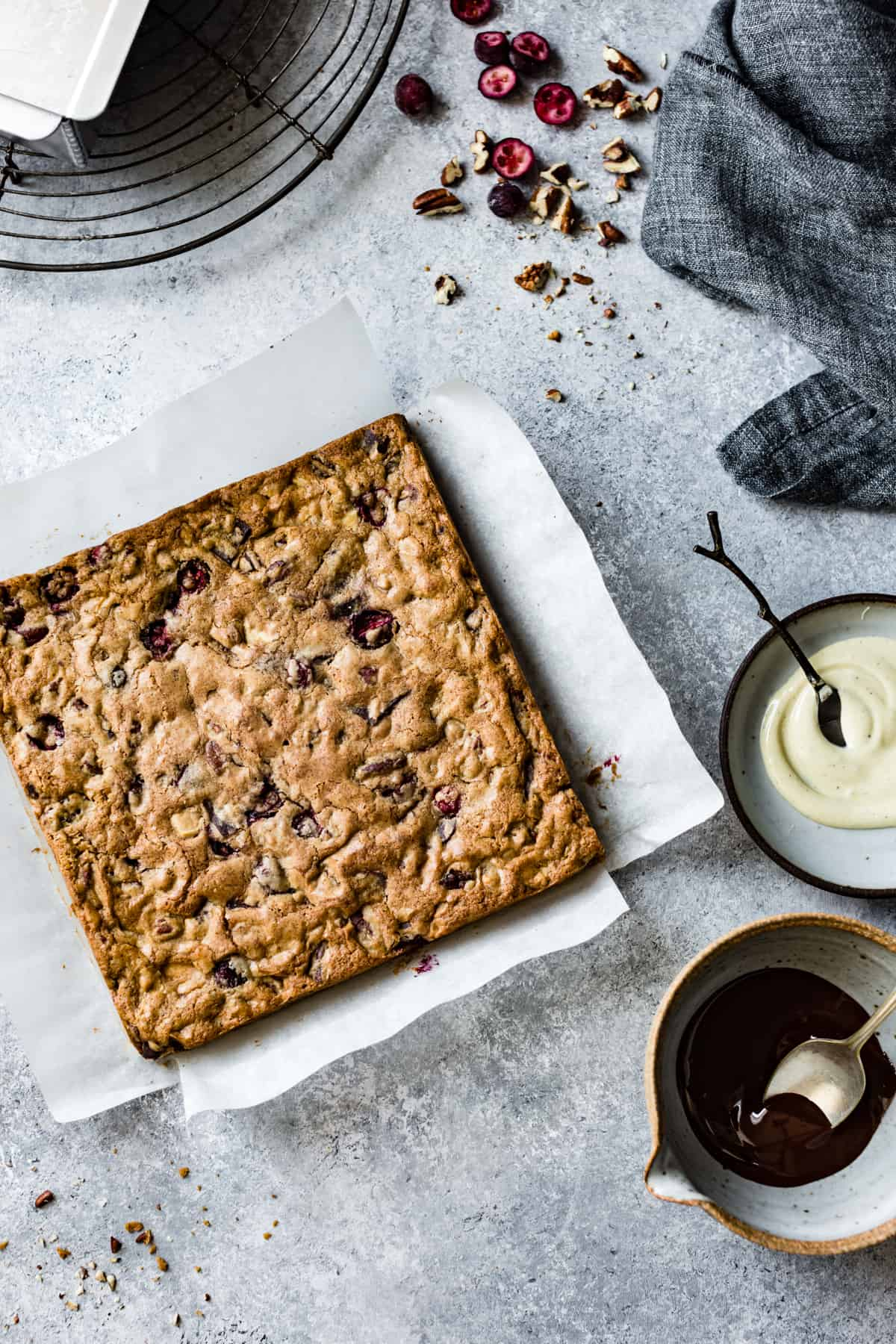 slab of Chestnut Cranberry Blondies {gluten-free}