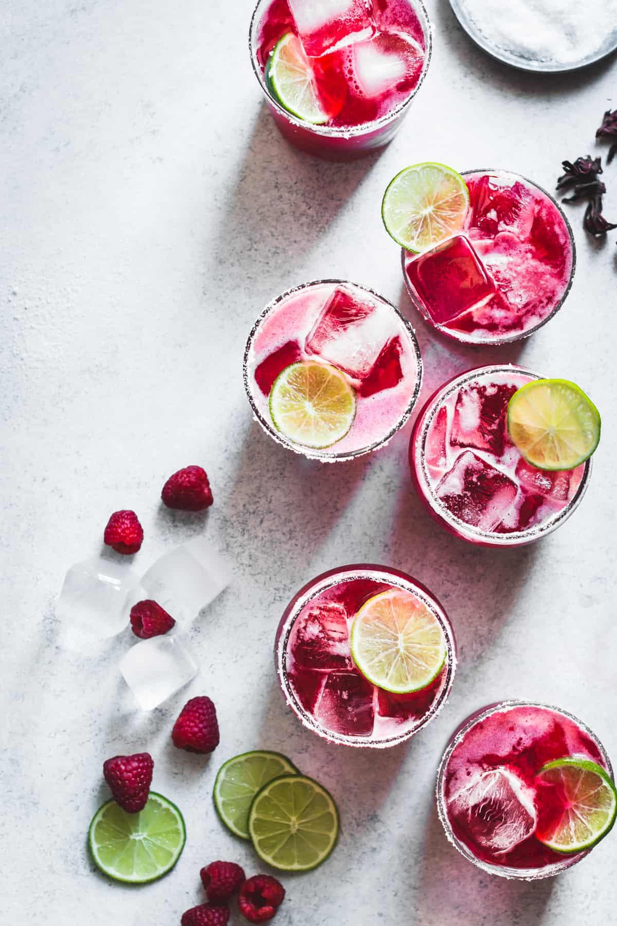 Raspberry hibiscus margaritas