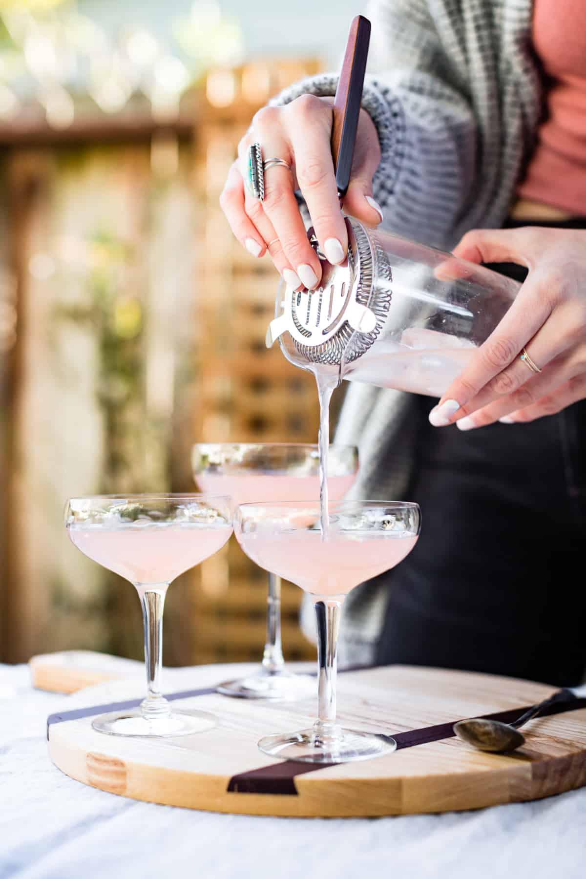 pouring Sparkling Grapefruit, Elderflower & Rosé Vodka Cocktails