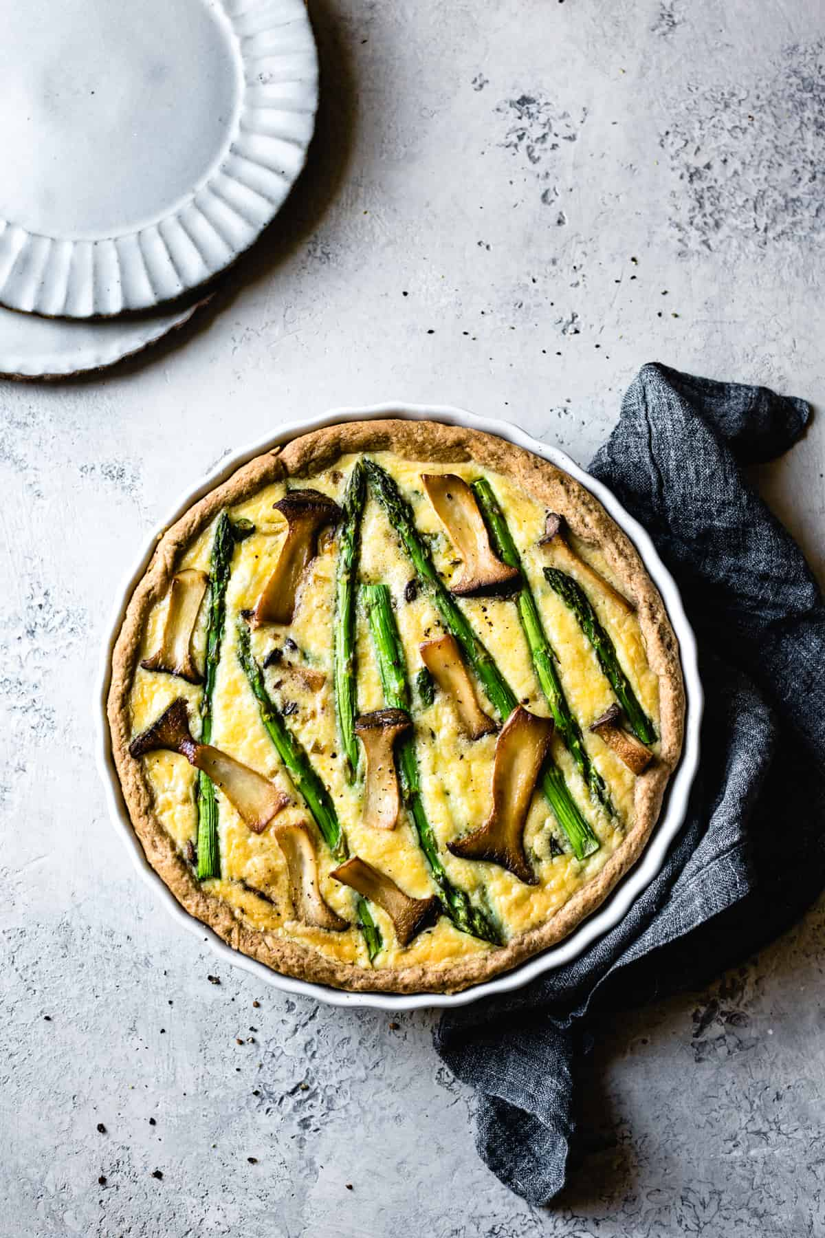 top down shot of Cheddar Mushroom Asparagus Quiche & Gluten-Free Ghee Piecrust